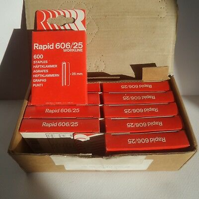 RAPID 606/25 STAPLES !! 10 x boxes of 600 = 6,000 Staples