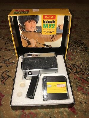 Vintage Kodak Instamatic M22 movie outfit Super 8 camera UNTESTED with box CLEAN