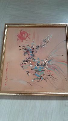 antique Chinese painting on silk bird signed