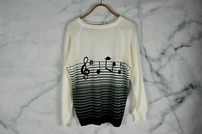 Vintage 60's Cyn Les by Shirlee Designs Sweater sz 40 Chenille Embroidery Music