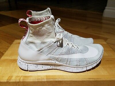 77cfd17a7a38f Nike Free Flyknit Mercurial Running Shoes Mens sz 13 Turf White Platinum Red