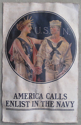 WWI Vintage America Calls Enlist In The Navy Poster 11 x 17