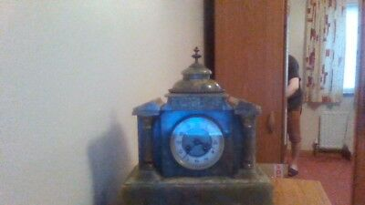 ANTIQUE CLOCK ONYX GREEN CASE STATEMENT PIECE, French Movement
