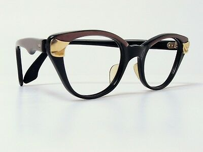 VINTAGE NIGURA FAIR LADY EYE SUNGLASSES FRAMES CAT EYE BLACK 1950/60s GERMANY
