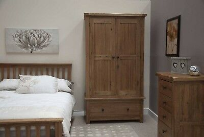 Pair of Rustic Solid Oak Wardrobes -perfect condition -partially flat packed