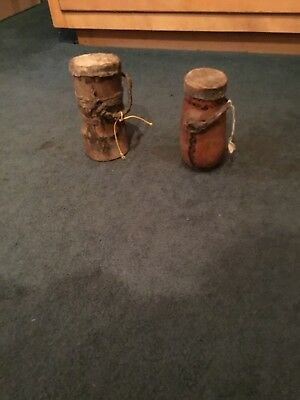 African Food  Box Storage Container Traditional Wood and Leather Vessels 2 items