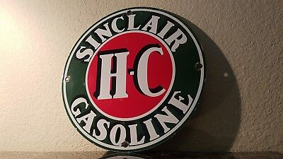 Vintage Sinclair Gasoline Porcelain Gas Auto Oil Service Station Pump Plate Sign