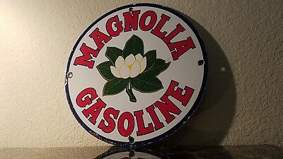 Vintage Magnolia Gasoline Porcelain Gas Oil Service Station Pump Plate Sign