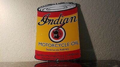 Vintage Indian Motorcycle Refinery Oil Quart Gas Can Porcelain Service Pump Sign