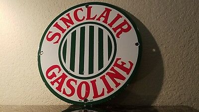 Vintage Sinclair Gasoline Porcelain Gas Oil Auto Service Station Pump Plate Sign