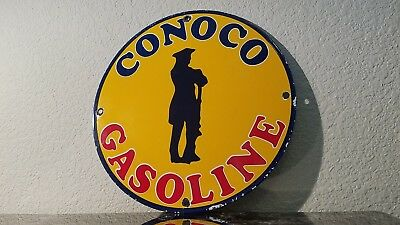 Vintage Conoco Gasoline Porcelain Gas Service Station Minute Man Pump Plate Sign