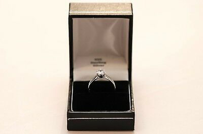 Solitaire Ring Sterling Silver Engagement Ring Rhodium Plated