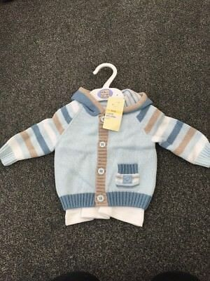 Marks And Spencer 0-3 Knitted Jumper Cardi Boys Bird 3 Piece Set