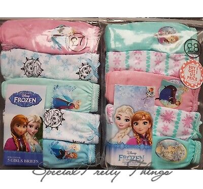 Girls Frozen Knickers Briefs Disney Official Kids Children Pants 5 Pairs Pack