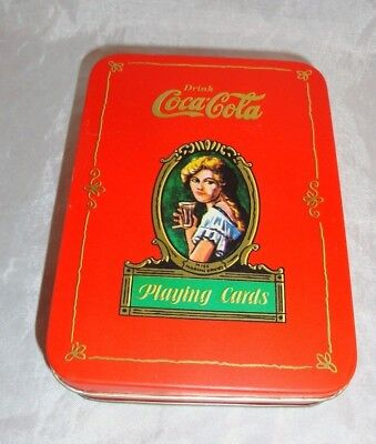 Vtg. 1980 Coca Cola Playing Cards in Tin Box Sealed Decks