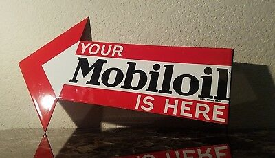 Vintage Mobil Gasoline Porcelain 2 Sided Gas Oil Service Station Pump Plate Sign