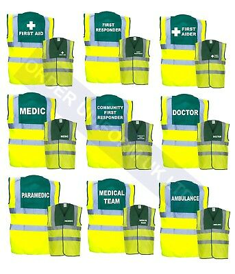 Hi Vis Medical Vests First Aid, Doctor, Ambulance, Responder, Medic, Paramedic