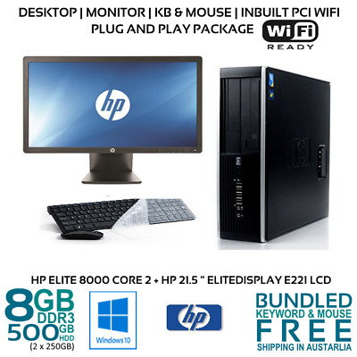 "Computer Package HP Elite 8000 Core2 Quad 8GB 500GB 22"" LCD Win10 KB mouse Wifi"