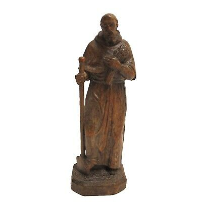 Antique 19th Century Carved Wood Figure of St Fiacre