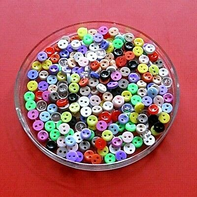 200 Wholesale Mixed Lot Mini Tiny Micro Doll Figure Clothes Sew Buttons 5mm S1