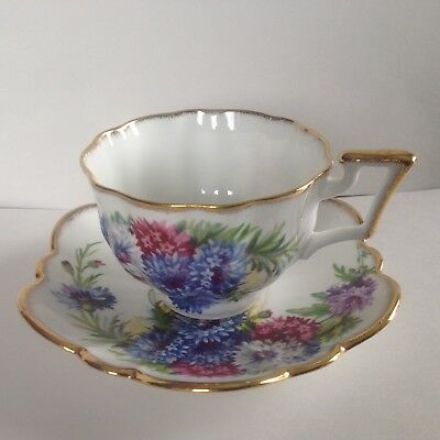 Salisbury Teacup and Saucer Blue Purple White Floral and guilded