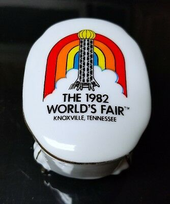 White Ceramic KNOXVILLE TN 1982 World's Fair Trinket Box - TENNESSEE - Jewelry