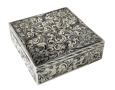 Antique Engraved 800 Silver Compact Case with Lipstick & Powder