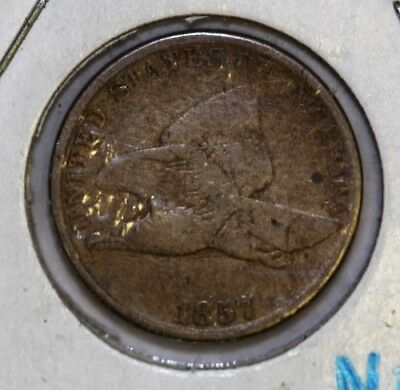 1857 USA Penny - Flying Eagle One Cent Coin - VG Condition