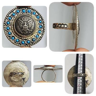 Wonderful Old Unique coin Lovely Royal Ring with Glass     #E2