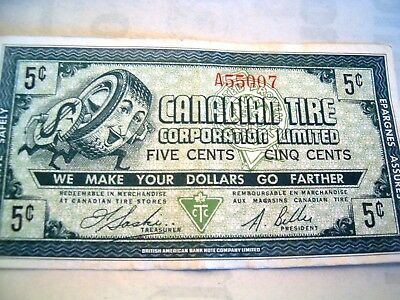 1958 Canadian Tire money CTC Gas Bar coupon first issue five 5 cents