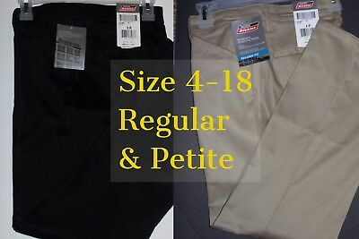 NEW Dickies Women Work Pants Stretch Twill Mid Rise Straight Leg Relaxed Reg/Pet