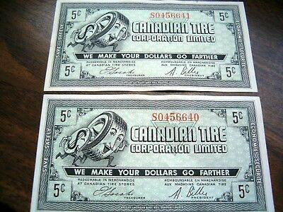 two 1960's Canadian Tire money CTC Gas Bar coupon five 5 cents consecutive s/n