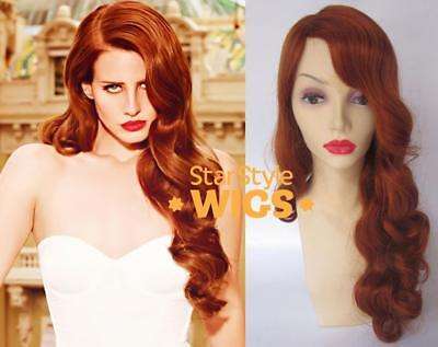 DELUXE LANA DEL REY LONG CURLY GINGER RED VINTAGE 1940s PIN UP SIDE PART WIG