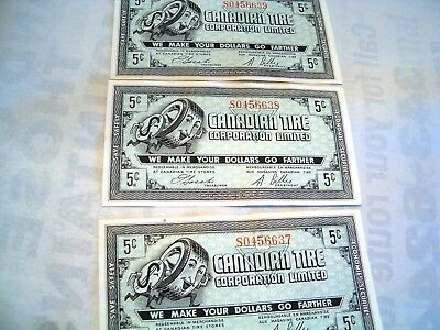 three 1960's Canadian Tire money CTC Gas Bar coupon five 5 cents consecutive s/n