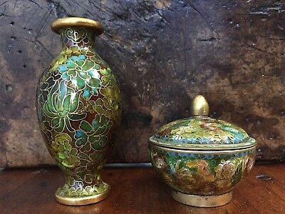Lot of Two Vintage Antique? Chinese Cloisonne Vase and Round Trinket Box w/ Lid