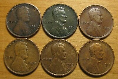 Lot Of (6) 1910 S San Francisco Lincoln Wheat Cents From Penny Collection