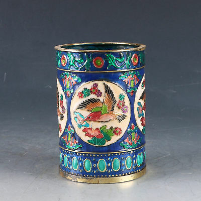 Chinese Cloisonne Handwork Carved Bird Pen Container