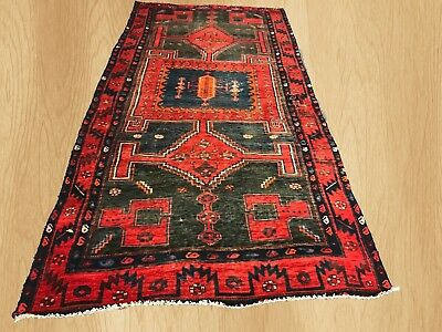 Authentic Hand Knotted Antique Persian Wiss Hamadan Wool Area Rug 9.8 x 4.7 Ft