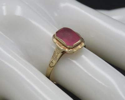 Vintage Antique Art Deco 14k Yellow Gold Pink Glass Ring Size 6