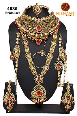 Beautiful Indian Wedding Cz Pearl Royal Gold Necklace Earrings Fashion Jewellery Sets F2n2 Engagement & Wedding
