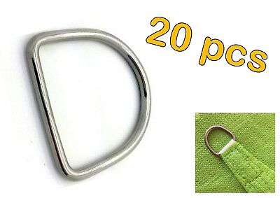 20pcs STAINLESS STEEL 316 DEE D RING MARINE DECK SHADE SAIL - 7mm x 50mm