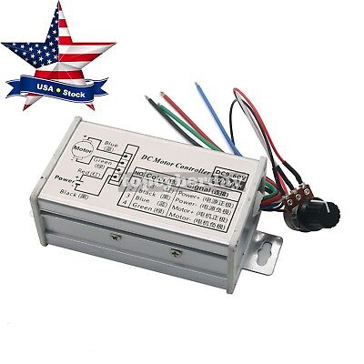 PWM Motor Stepless Variable Speed Control Controller Switch DC12V/24V 20A in US
