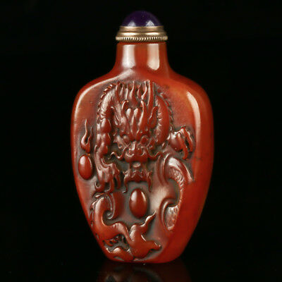 Chinese Natural Shoushan Stone Hand Carved Dragon Snuff Bottle Seal AFM0151