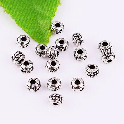 Metal Small Round Spacer Beads Loose Tibetan Silver Charm Jewelry Findings 4x3mm
