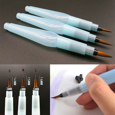 3pcs Water Brush Pens Art Craft Watercolor Painting Calligraphy Ink Set S + M +L