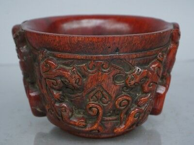 Chinese Exquisite Hand-carved brave troops OX Horn cup