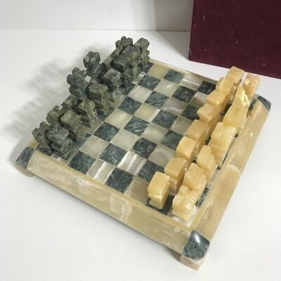 Complete Marble Stone Chess Set With 25CM Game Board -  VINTAGE Handcarved