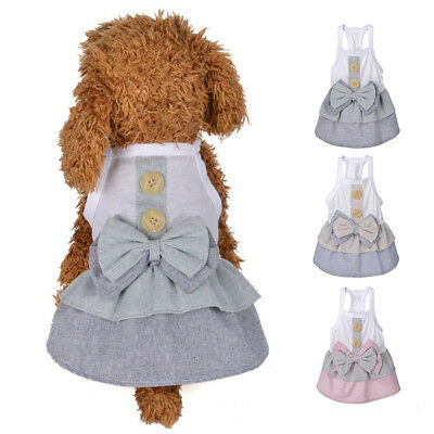 Bow Button Dog Clothes Dress Summer Soft Cotton Skirt Clothes Small For Dog Cat