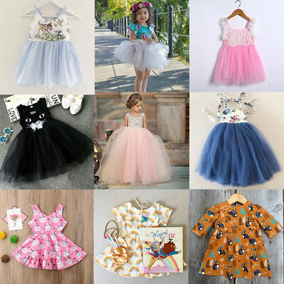 AU Toddler Kid Baby Girl Princess Dress Wedding Pageant Party Tutu Dress Clothes