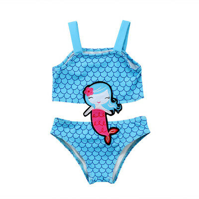NWT Girls Mermaid Shimmer Blue Swimsuit One Piece Bathing Suit 3T 4T 5T